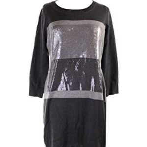 Calvin Klein Gray Sequin Front Sweater Dress Sz L